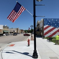 Marion Streetscape Sidewalk Completion With Flag And Banner